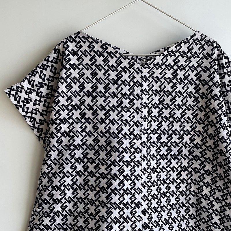 訂做|方袖套頭襯衫罩衫浴衣布菱形籃子圖案