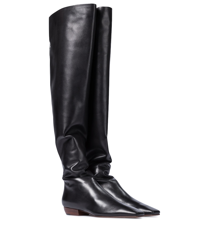 Slouch leather over-the-knee boots