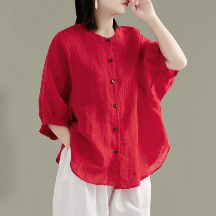 夏裝大碼寬鬆氣質亞麻襯衫女純色休閒顯瘦燈籠袖襯衣薄款棉麻上衣
