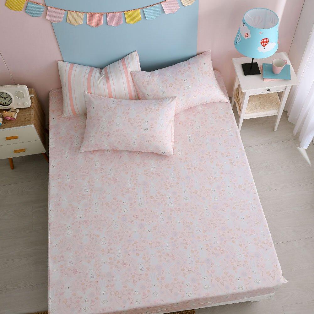 鴻宇 100%精梳棉 眠眠兔 粉 雙人加大床包枕套三件組