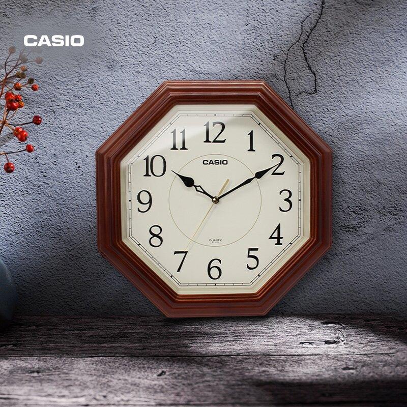 卡西歐(CASIO)掛鐘客廳掛錶臥室辦公靜音實木鐘錶