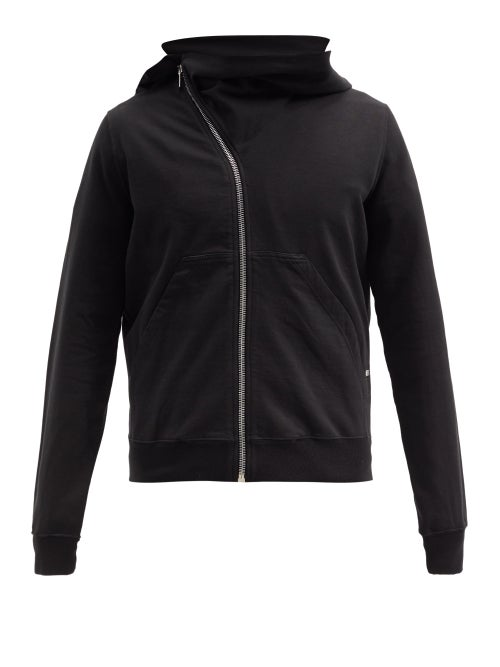 Rick Owens Drkshdw - Mountain Asymmetric Zipped Cotton Sweatshirt - Mens - Black