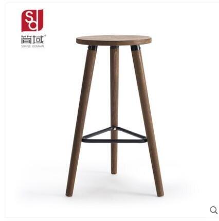 桌椅 簡域實木酒吧椅高腳凳子吧台椅子簡約現代酒吧咖啡廳營業廳吧凳特惠促銷