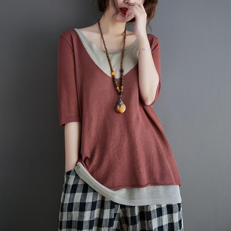 2021年春夏新假兩件針織T恤女寬鬆文藝短袖大碼棉麻顯瘦上衣 襯衫