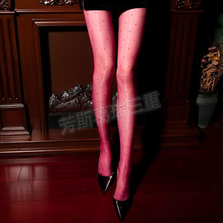 極光閃亮波點褲襪(紅)開襠
