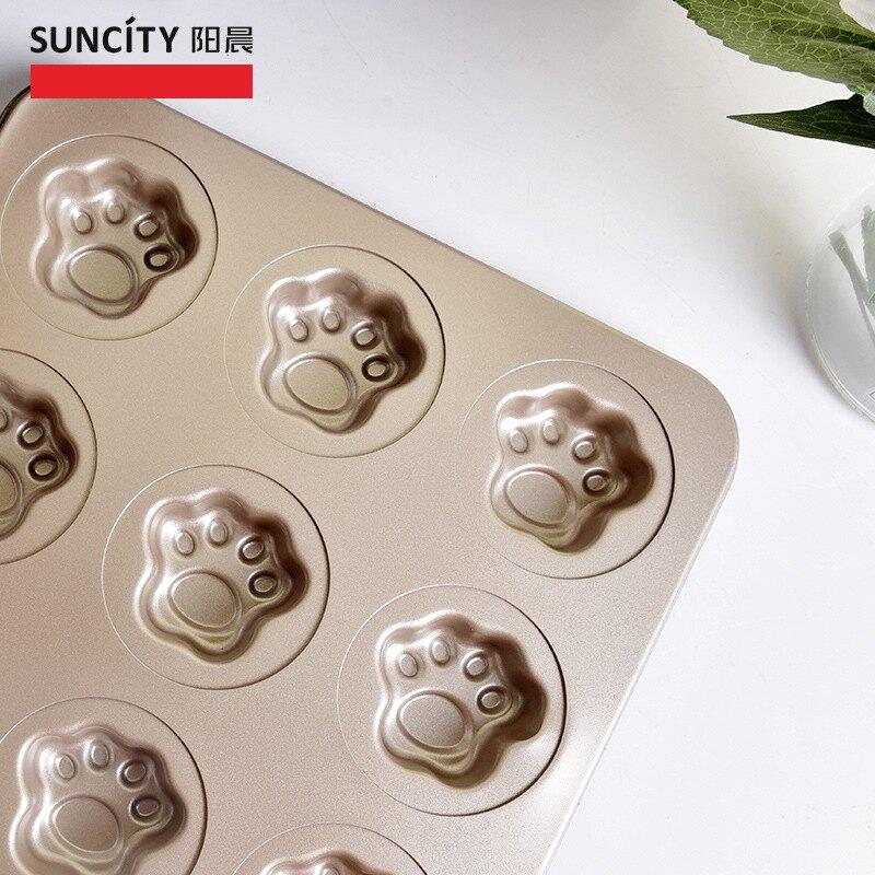 烘焙模具9連貓爪餅干蛋糕模家用烤箱工具不沾烤盤
