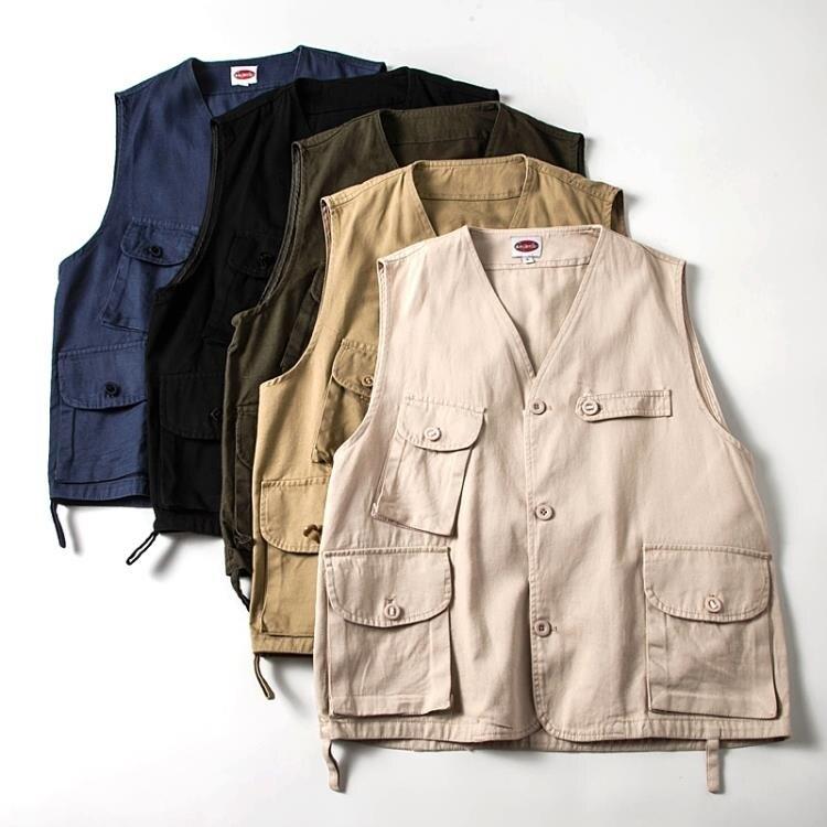 馬甲男 外貿情侶款馬甲夏季港風寬鬆休閒上衣男潮流大碼背心馬夾工裝外套