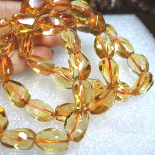 『晶鑽水晶』天然黃水晶手鍊不定型~光亮度超佳 強力招財~送禮物 附禮盒 中型-大型