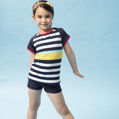 sain sou女童兩截式泳裝附泳帽a822006
