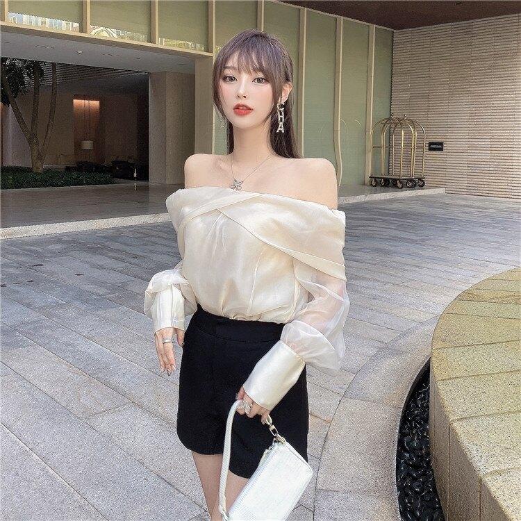 一字肩上衣 一字肩上衣女秋裝2021年新款氣質甜美超仙雪紡襯衫性感蕾絲打底衫 果果輕時尚
