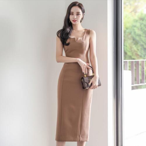 洋裝 背心裙 S-XL新款氣質V領無袖修身顯瘦拼接中長款包臀連身裙NA07B-3220.愛尚依人
