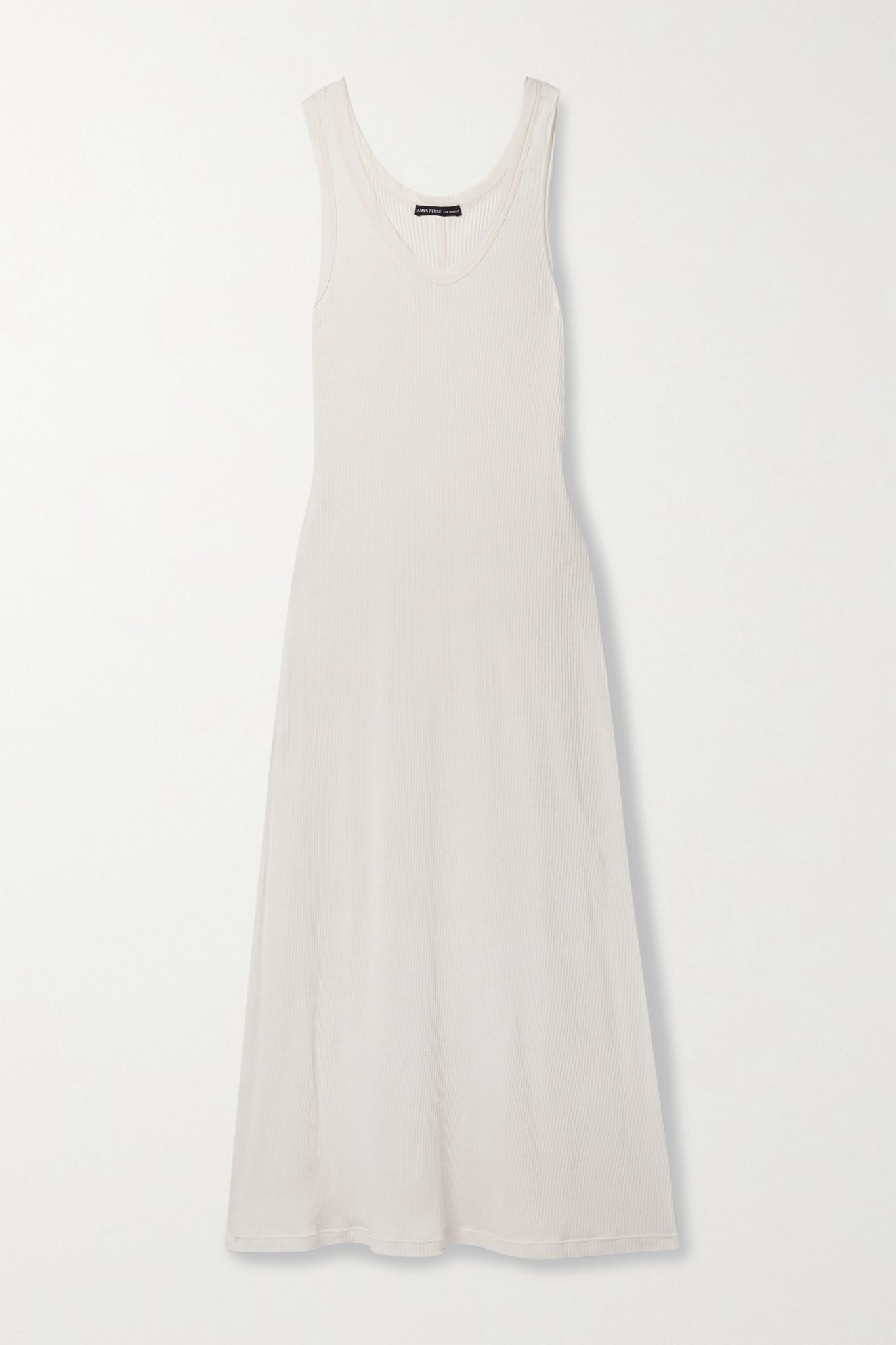 JAMES PERSE - Ribbed Cotton-blend Jersey Midi Dress - Pink - 3