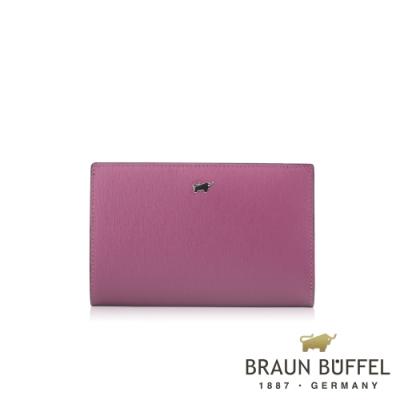 【BRAUN BUFFEL 德國小金牛】台灣總代理 美莉莎-III 11卡兩折中夾-粉紫色/BF651-403-BO