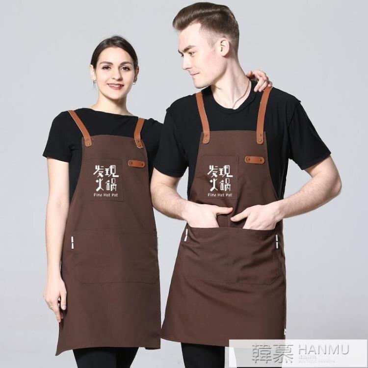 韓版時尚牛仔帆布圍裙訂製印字LOGO奶茶咖啡蛋糕店烘焙美甲工作 【快速出貨】