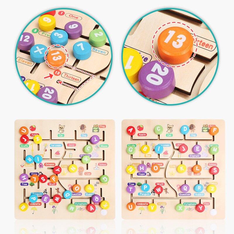 幼兒童木制數字字母走位迷宮教玩具手眼協調動手能力鍛煉游戲