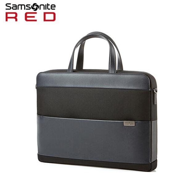 Samsonite Red【HOLTE HT2】15.6吋筆電公事包 拼接皮革 商務方正薄型 手提側背肩背 可插掛 (詢問優惠)