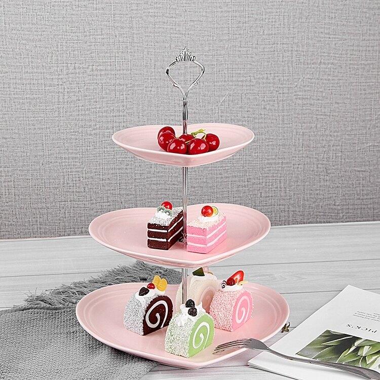 水果盤 瓷江湖歐式陶瓷三層水果盤甜品台多層蛋糕架干果盤茶點心生日托盤