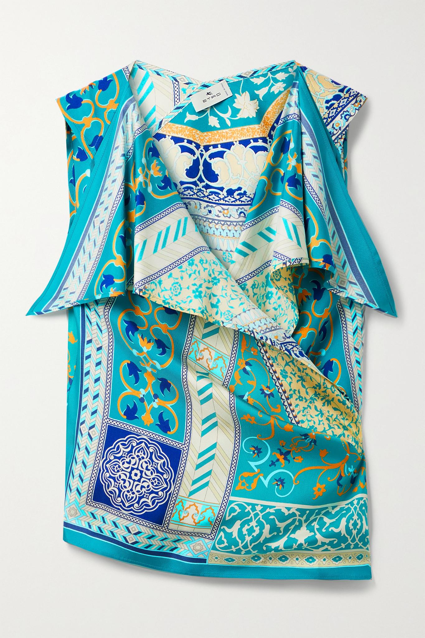 ETRO - 印花丝缎围裹式上衣 - 蓝色 - IT38