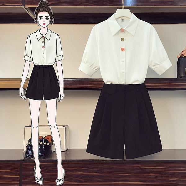 襯衫套裝韓版中大尺碼L-4XL胖妹妹時尚雪紡襯衣上衣顯瘦短褲兩件套4F096.517 依品國際