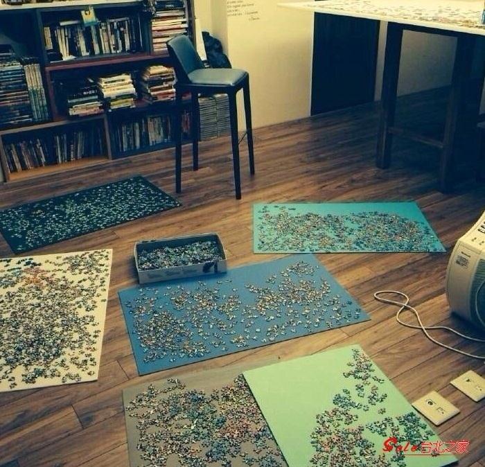 拼圖收納毯 拼圖毯1000收納毯面積毛毯地面工具地墊絨面方便房間大片鵝卵石用T