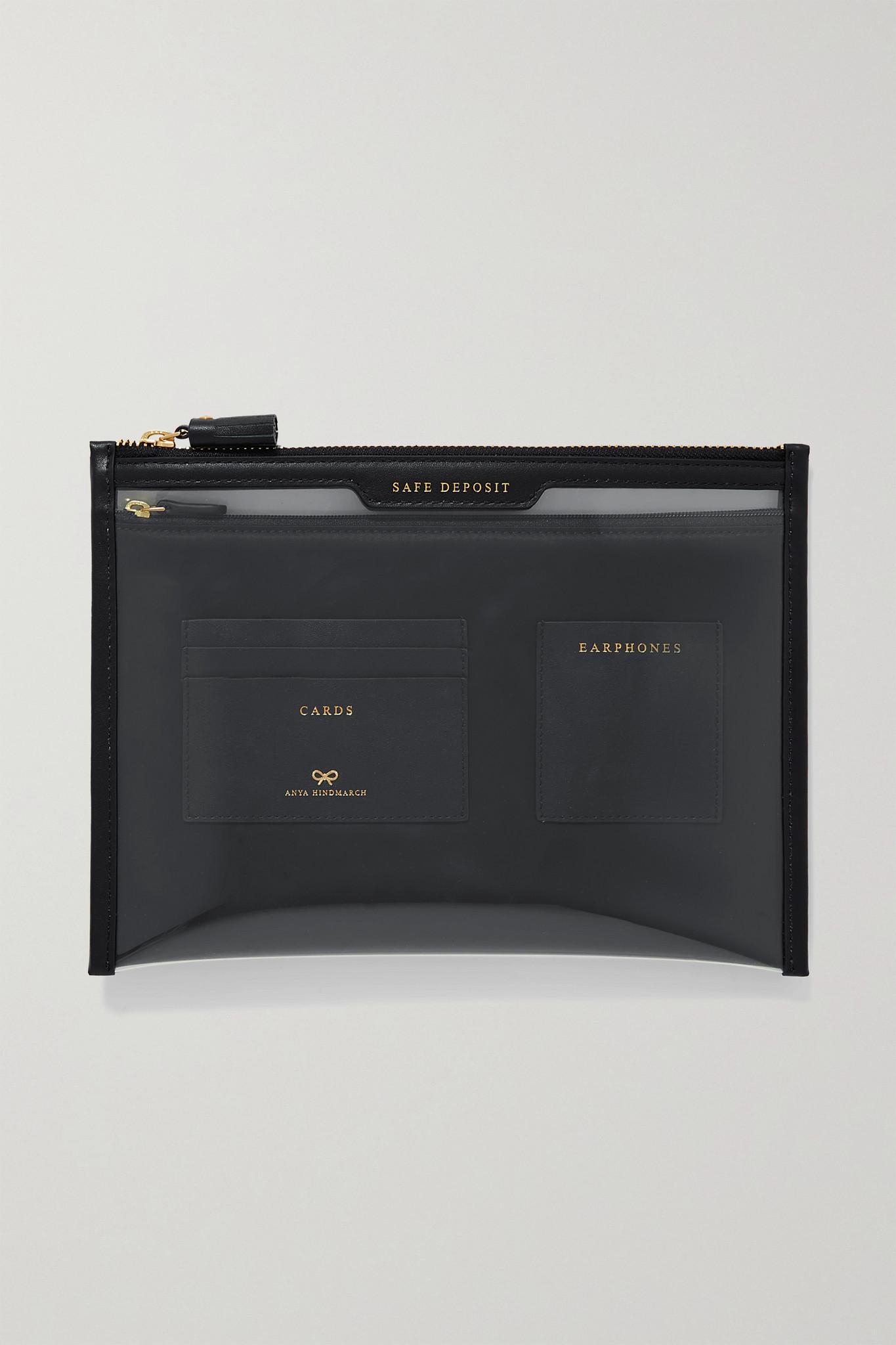 ANYA HINDMARCH - Safe Deposit 皮革边饰 Pvc 小袋 - 黑色 - one size