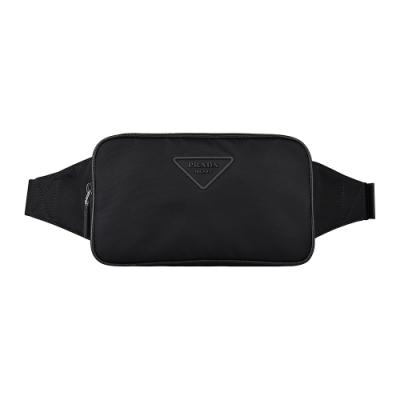 PRADA TESSUTO三角橡膠LOGO尼龍拉鍊胸腰包(黑)
