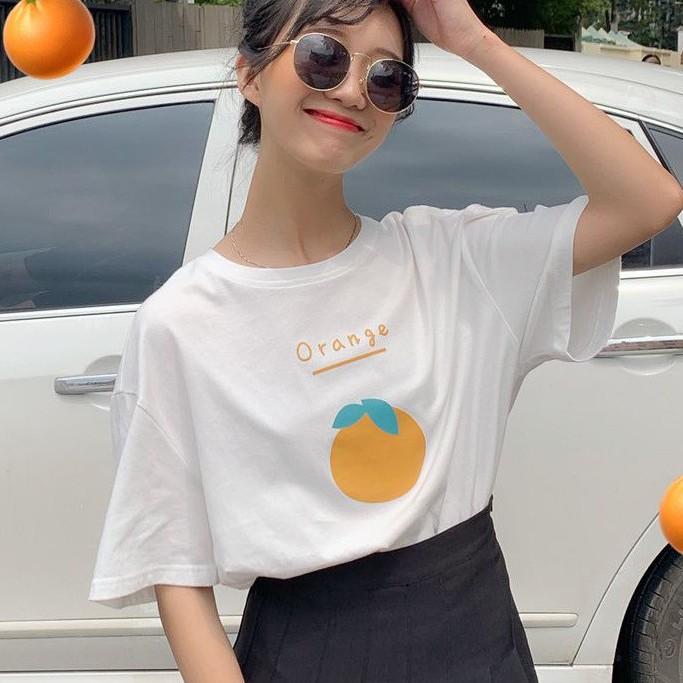大橙子印花短袖T恤 韓版學生百搭上衣 圓領洋氣簡約打底衫 女生衣著韓妞必備閨蜜實拍正韓女裝CC210208