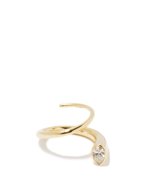 Katkim - Pear Crescendo Diamond & 18kt Gold Ring - Womens - Yellow Gold