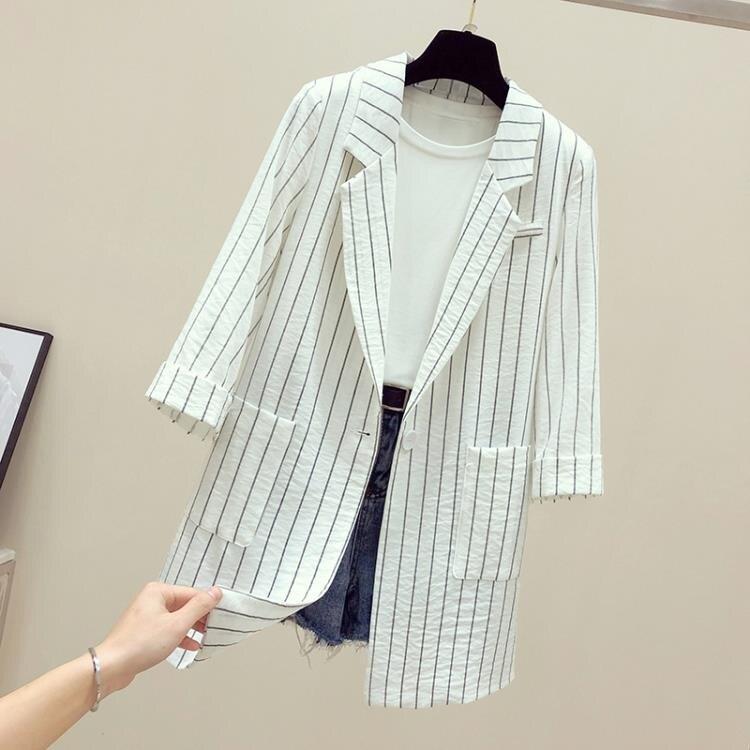 棉麻西裝 中長西裝外套女士夏季薄款棉麻亞麻休閒大碼中袖垂感條紋西服-莎韓依