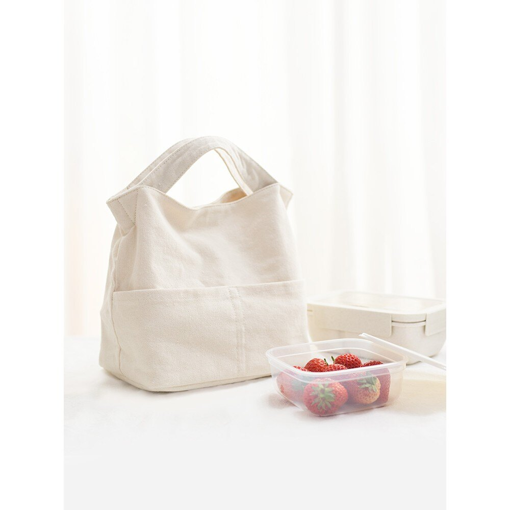 保溫便當包 簡約帶飯手提袋子裝飯盒上班學生帆布包日式保溫餐盒便當裝飯便攜 艾琴海小屋