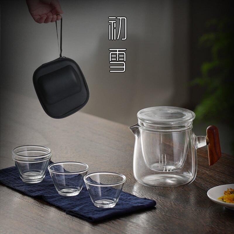 旅行茶具套裝一壺四杯便攜包日式玻璃快客杯隨身功夫茶杯茶壺小套