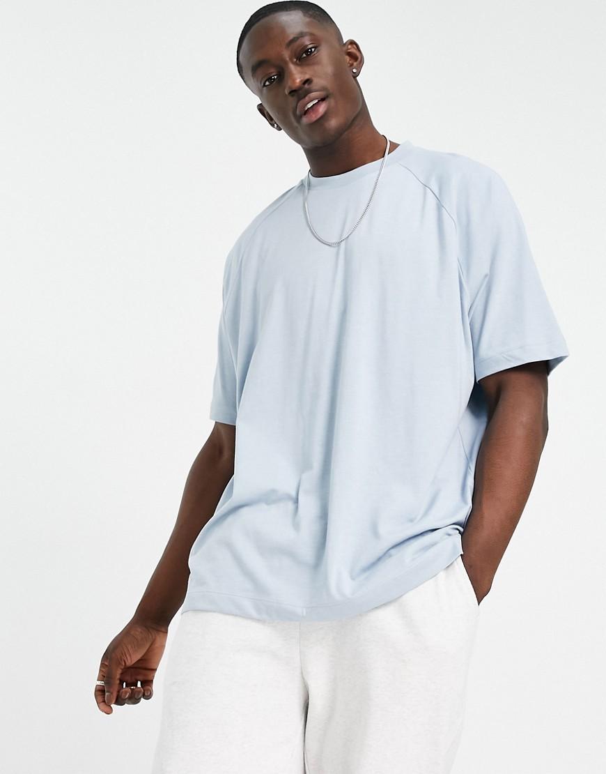 ASOS DESIGN oversized raglan t-shirt in light blue marl