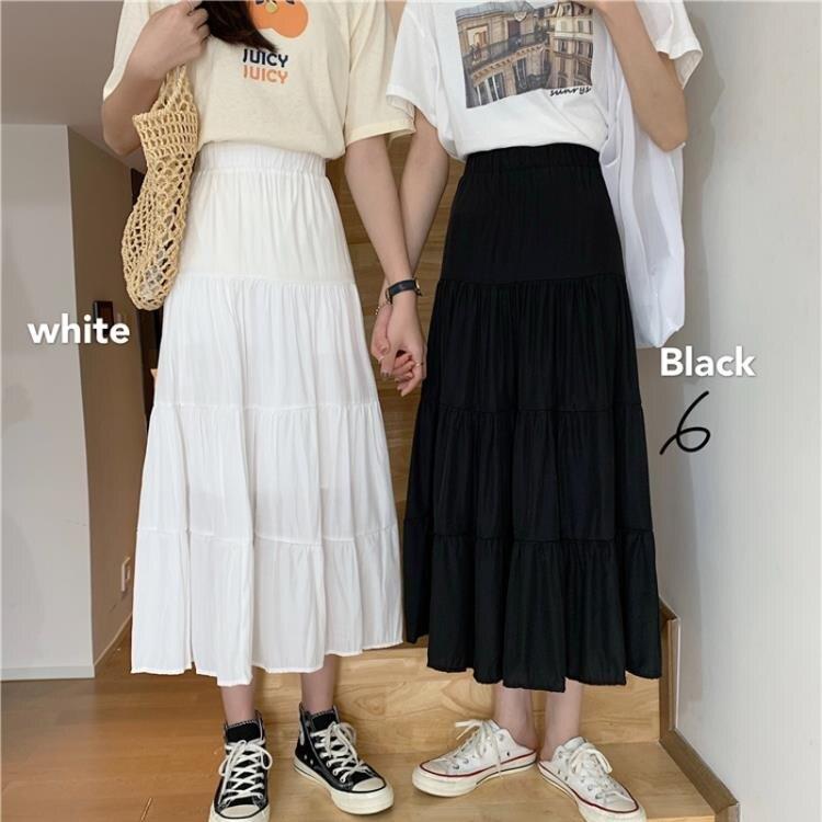 蛋糕裙 夏季正韓 高腰A字蛋糕雪紡裙女中長款黑色半身裙-莎韓依