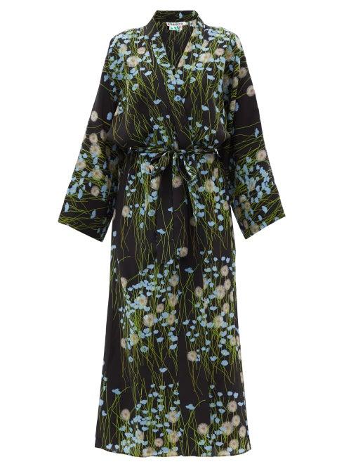 Bernadette - Buttercupfield Floral Silk Crepe-de-chine Robe - Womens - Black