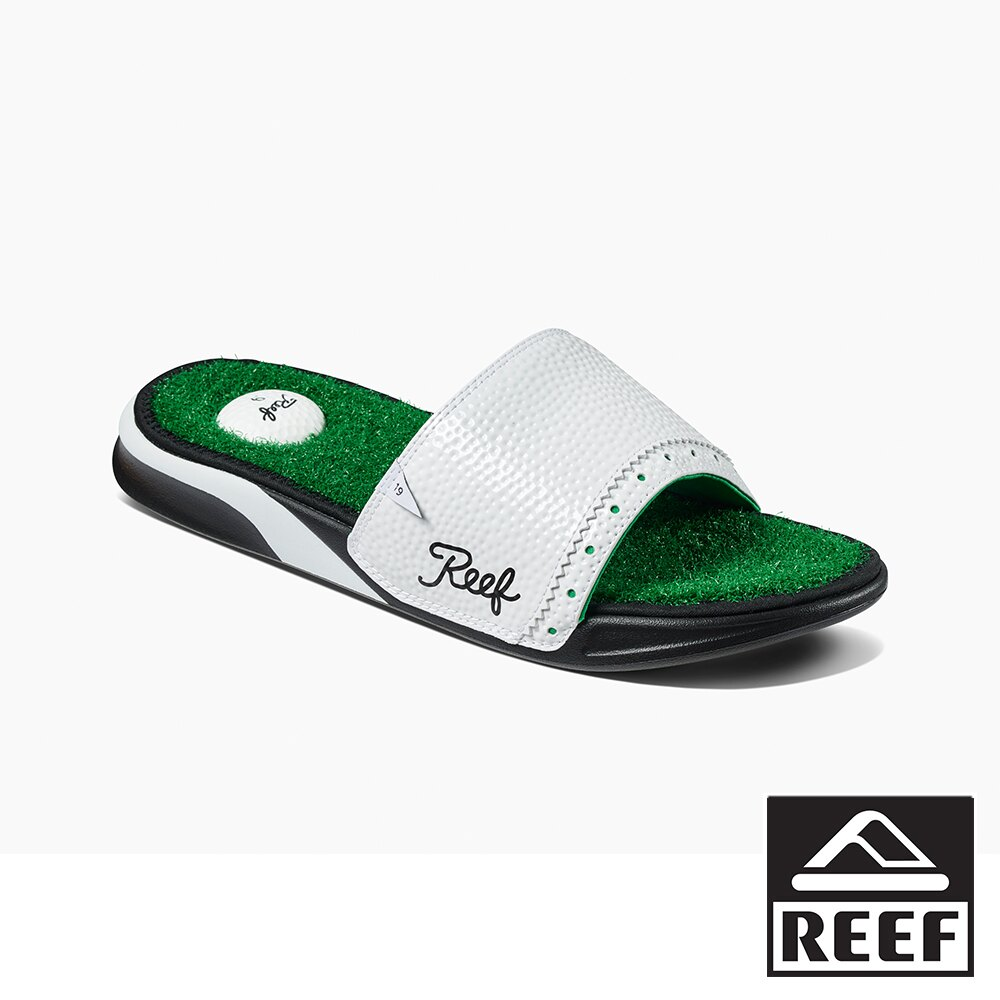REEF  一片式非夾腳系列 彈力鞋床附球座 男款拖鞋 - 白綠 S21 CI3748