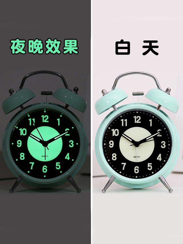鬧鐘 可充電夜光小鬧鐘學生用床頭兒童北歐臥室靜音個性創意錶超大聲音 【CM1543】