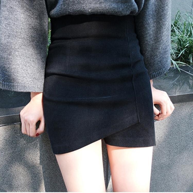 【全館85折!】毛呢短裙 毛呢半身裙秋冬新款韓版不規則小個子高腰顯瘦修身性感包臀裙短裙-莎韓依