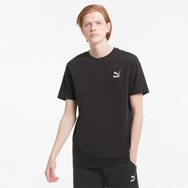 PUMA 上衣 短T CLASSIC 黑 刺繡小LOGO T恤 短袖 男 (布魯克林) 59979501