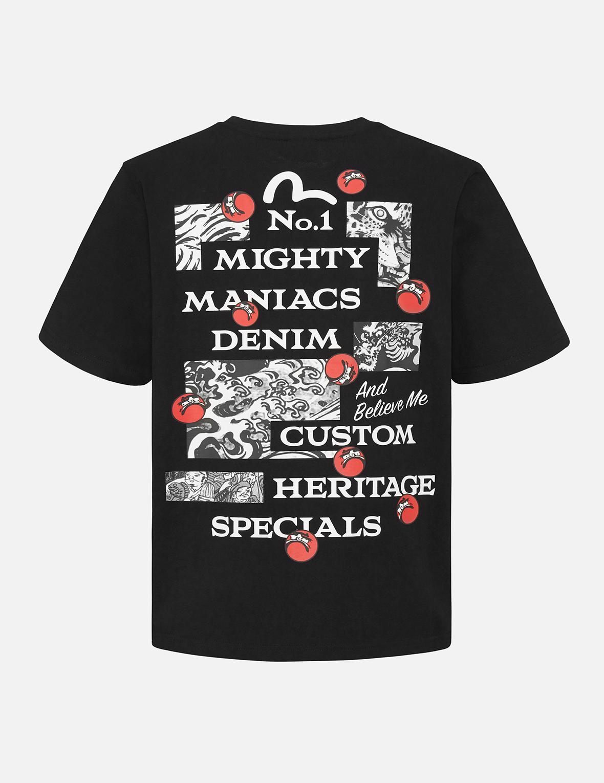 Darumas and Text Print T-Shirt