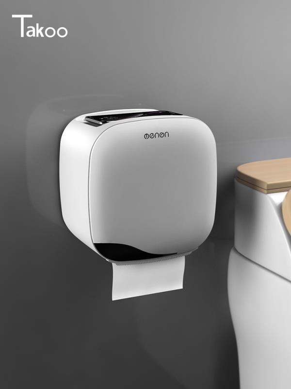 衛生間紙巾盒 衛生間紙巾盒廁所衛生紙置物架廁紙盒免打孔防水卷紙筒創意抽紙盒