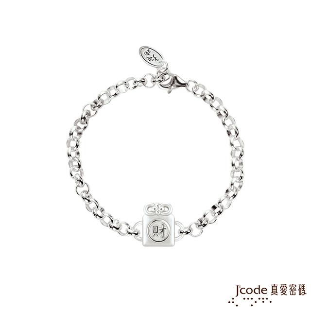 Jcode真愛密碼銀飾 大甲媽 招財平安符純銀手鍊(兒童鍊長)