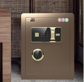保險箱 家用小型辦公指紋密碼床頭柜全鋼防盜入墻入衣柜迷你隱形保險箱TW【快速出貨八折下殺】