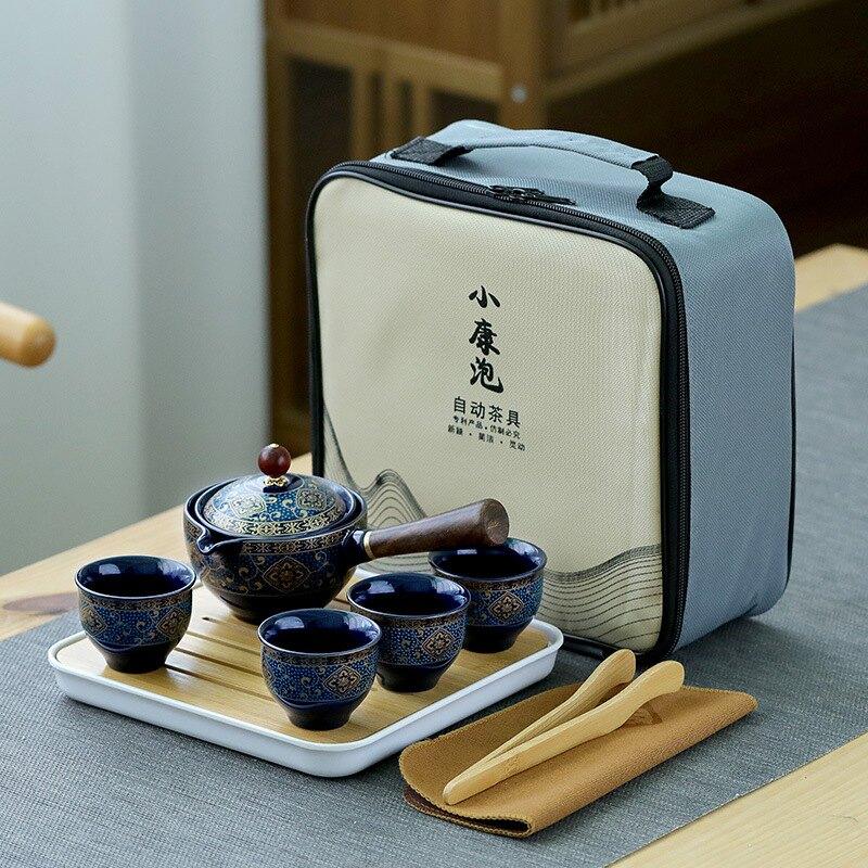 旅行茶具套裝一壺四杯快客杯陶瓷功夫隨身便攜式包戶外泡茶壺家用