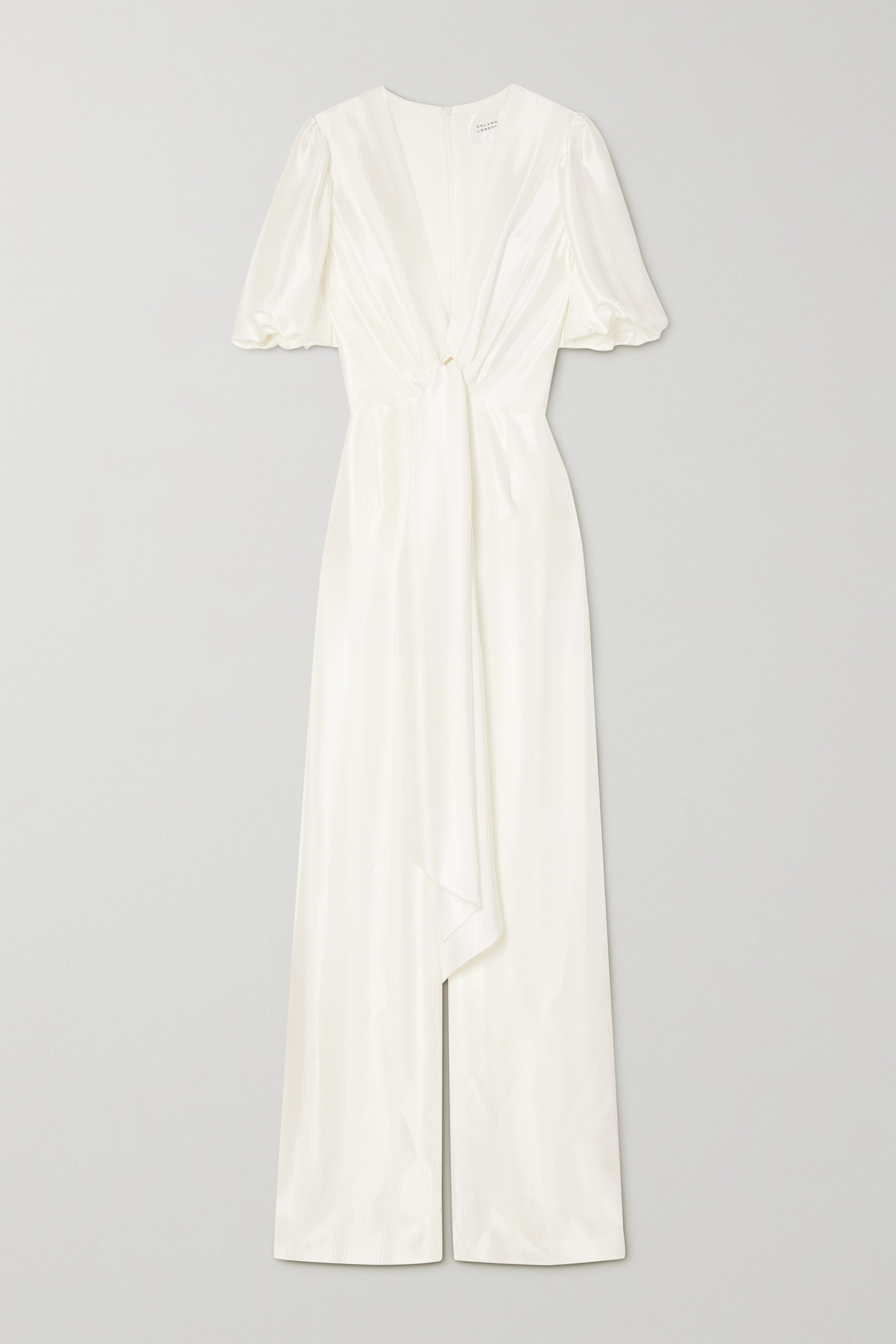 GALVAN - Eden 结饰条纹缎布连身裤 - 白色 - FR40