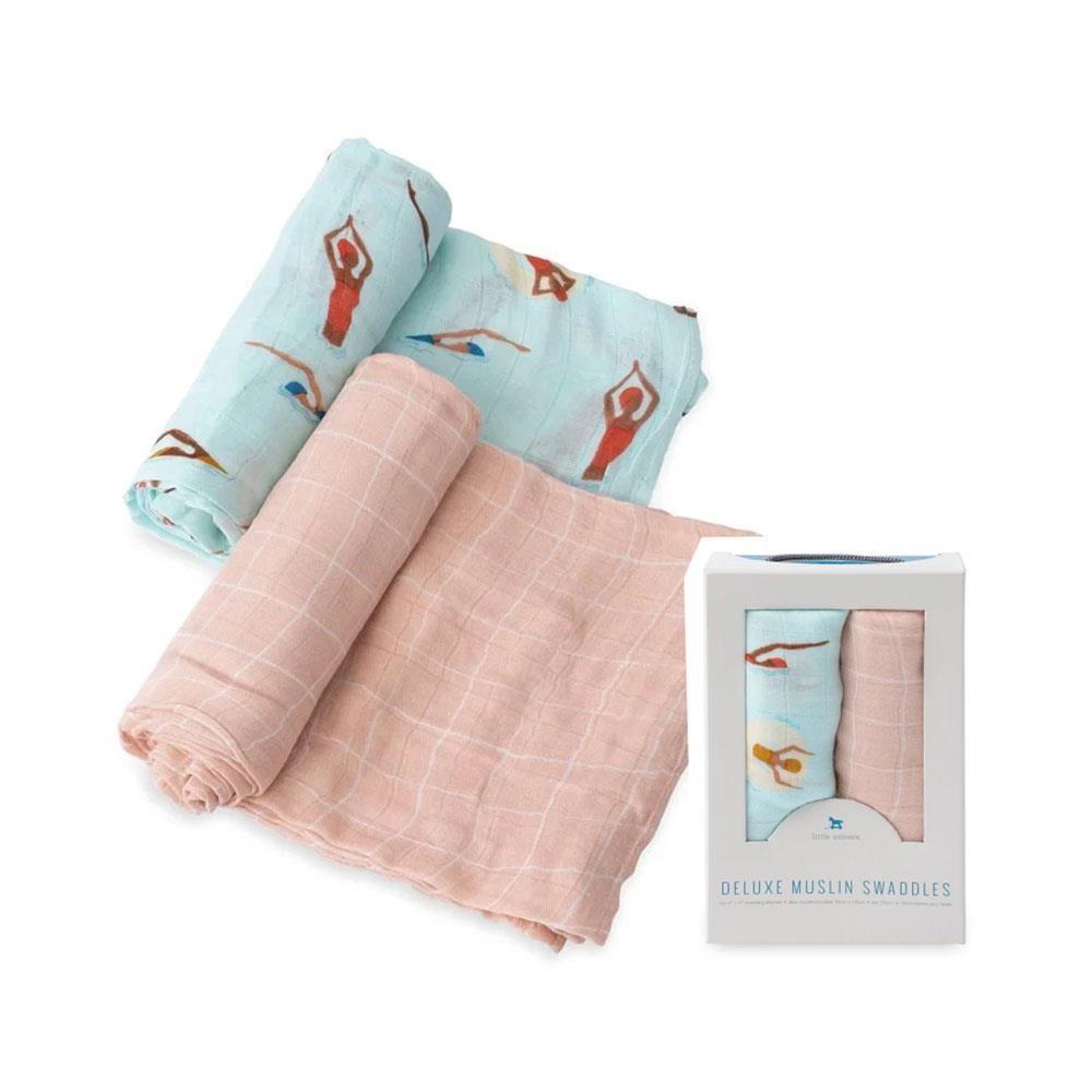 美國 Little Unicorn 竹纖維紗布巾兩入組-游泳池畔[免運費]