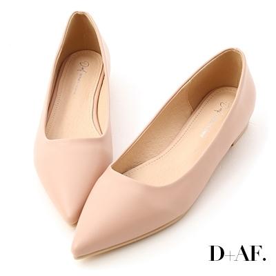 D+AF 典雅氛圍.韓風素面低跟尖頭鞋*粉