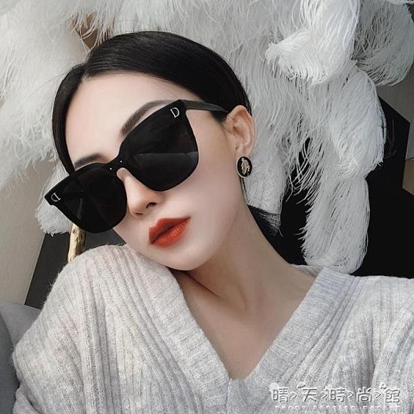 網紅潮款連體無邊框超黑色偏光墨鏡女大框圓臉街拍太陽鏡方框眼鏡 晴天時尚