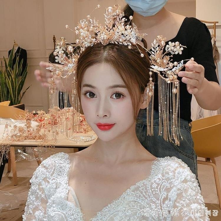 中式古典秀禾服婚禮頭飾龍鳳褂金色流蘇古風結婚發簪鳳冠新娘配飾
