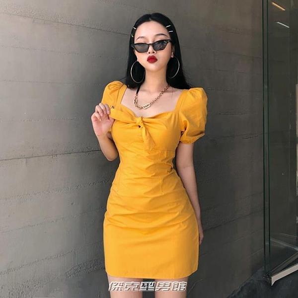 【快出】OM潮人館顯白鵝黃色蝴蝶結泡泡袖洋裝復古方領法式度假短裙女夏洋裝