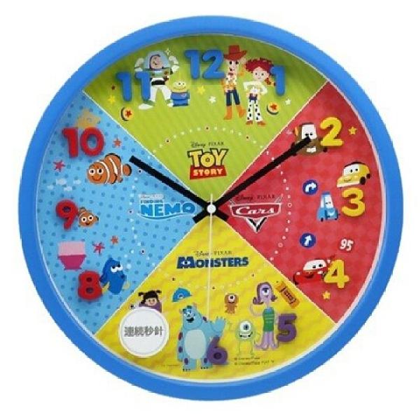 小禮堂 迪士尼 皮克斯 連續秒針圓形壁掛鐘 時鐘 壁鐘 圓鐘 (藍 立體數字) 4548626-14138